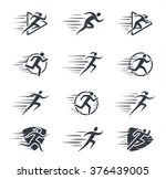 running man and woman icons... | Shutterstock .eps vector #376439005
