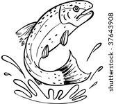 trout line art | Shutterstock . vector #37643908