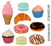 set of cartoon sweets  vector... | Shutterstock .eps vector #376445149