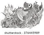 yacht sailing  doodle sketch  | Shutterstock .eps vector #376445989