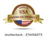 made in usa golden badge and...   Shutterstock .eps vector #376456075