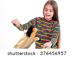 girl and a horse toy. beautiful ... | Shutterstock . vector #376456957