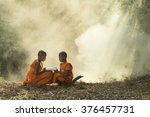 asia  novice reading  book  of  ... | Shutterstock . vector #376457731