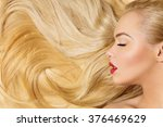 girl with long blond hair | Shutterstock . vector #376469629