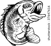 big mouth bass drawing | Shutterstock . vector #37647616