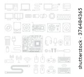 computer hardware line icons... | Shutterstock .eps vector #376484365