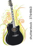 acoustic guitar on floral grunge | Shutterstock .eps vector #3764863