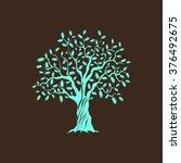 beautiful green oak tree... | Shutterstock .eps vector #376492675