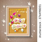 happy birthday text in frame... | Shutterstock .eps vector #376498051