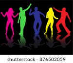 dancing people silhouettes. | Shutterstock .eps vector #376502059