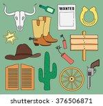 doodle vector wild west | Shutterstock .eps vector #376506871