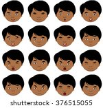 indian boy emotions  joy ... | Shutterstock .eps vector #376515055
