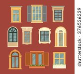 Set Of Vintage Windows. Vector...