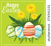 easter eggs in the grass with... | Shutterstock .eps vector #376541131