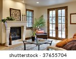 great room with fireplace and...   Shutterstock . vector #37655704