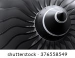 Small photo of Turbine blades of turbo jet engine for passenger plane, aircraft concept, aviation and aerospace industry