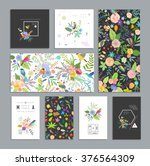 set of floral cards. wedding ... | Shutterstock .eps vector #376564309