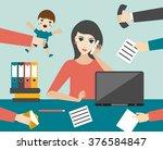 busy multitasking woman clerk... | Shutterstock .eps vector #376584847