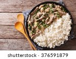 beef stroganoff and rice close... | Shutterstock . vector #376591879