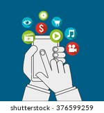 hand on device design  | Shutterstock .eps vector #376599259