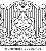 wrought iron gate  door  fence | Shutterstock .eps vector #376607401