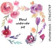 flower watercolor set  | Shutterstock . vector #376614769