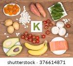 potassium containing foods | Shutterstock . vector #376614871