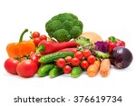 set of vegetables isolated on... | Shutterstock . vector #376619734