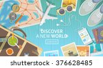 flat vector web banner on the... | Shutterstock .eps vector #376628485