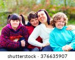 group of happy women with... | Shutterstock . vector #376635907
