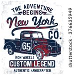 vintage pick up illustration  ... | Shutterstock .eps vector #376635949