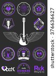 set of logos rock music and... | Shutterstock .eps vector #376636627