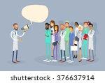 medical doctor hold megaphone... | Shutterstock .eps vector #376637914