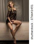 romantic blonde young woman... | Shutterstock . vector #376641451