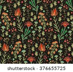 Seamless Floral Pattern Colorful Mosaic Rug