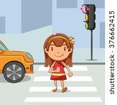 girl crossing street  vector... | Shutterstock .eps vector #376662415