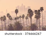 Los Angeles Skyline With Palm...