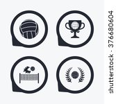 volleyball and net icons.... | Shutterstock . vector #376680604