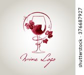 wine glass logo template ... | Shutterstock .eps vector #376687927