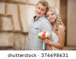 bride and groom wedding... | Shutterstock . vector #376698631