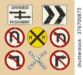 vector grunge roadsign set... | Shutterstock .eps vector #376700875