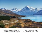 mount cook viewpoint with the... | Shutterstock . vector #376704175