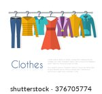 Stock vector racks with clothes on hangers flat style vector illustration 376705774
