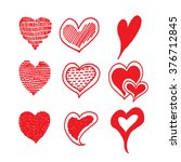 red hearts  sketch hand drawn. | Shutterstock .eps vector #376712845