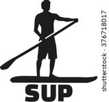 stand up paddling silhouette... | Shutterstock .eps vector #376718017