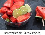 watermelon slices with lime on... | Shutterstock . vector #376719205