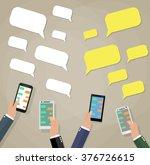 cartoon hands with smartphones...