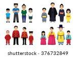 asian families set cartoon... | Shutterstock .eps vector #376732849