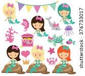 mermaid vector illustration | Shutterstock .eps vector #376733017