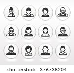 people face set on white round... | Shutterstock .eps vector #376738204